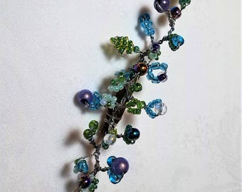 BROOCH with seed beads. Small garden (10 cm/3). unique piece. GIFT