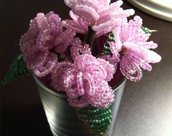 Small bouquet of 5 pink beads.  Flowers in seed beads. Beadwoven flowers.  Height 10 cm. Unique gift. Immortal