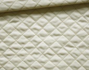 Pique fabric quilted 50 x 150 cm, Argyle, light beige