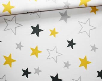 Tissu étoiles grises jaunes, 100% coton imprimé 50 x 160 cm, motif étoiles jaunes et grises sur fond blanc