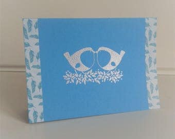 Card birds blue/pearly all occasions