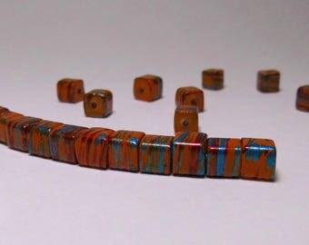 12 cubes are 6mm orange striped