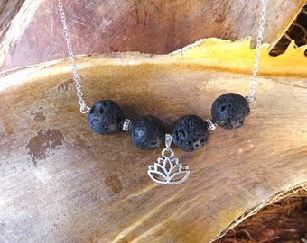 Necklace of black lava stone essential oil burner. Lotus Flower. Aromatherapy. Sterling silver 925 necklace