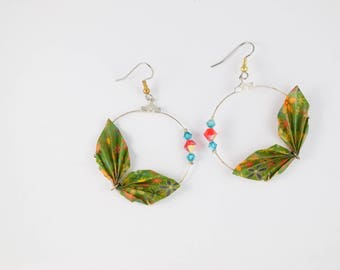 Earrings creole spring origami and swarovski