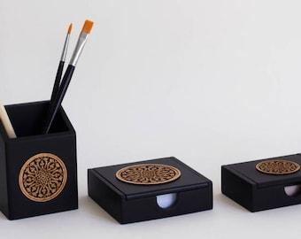 Luxury Office Desk Set - Desk Tidy - Desk Organiser - Memo Pad, Business Card and Pen/Pencil Holder