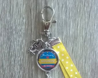 "Keychain bag charm ""Best Nanny in the world"""