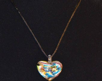 The Monica: Swirled Glass Heart Necklace