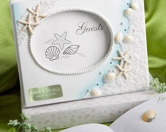 Personalized Engraved Finishing Touches Collection Beach Themed Wedding Guest Book