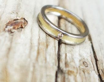 Wedding ring, wedding ring yellow gold and white, champagne diamond, modern wedding band, two wedding band, diamond wedding band gold wedding ring men, women wedding band