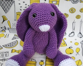 Purple Lop Eared Bunny, handmade, crochet, soft toy, bunny, rabbit, perfect gift, cuddle