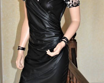 Dress hides heart black faux leather and lace 100% made in France