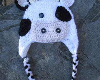 crochet cow hat, cow hat, cow beanie, crochet cow costume,