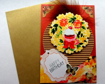"""Card """"Cup yellow cake"""" happy birthday"""