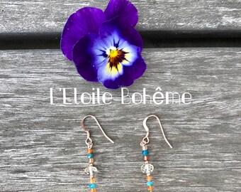 Citrine, Carnelian and Apatite earrings