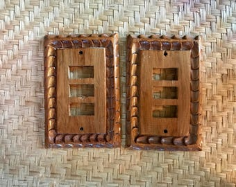 Carved wood light switch covers