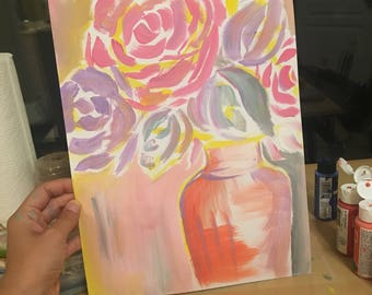 Home decor/ Abstract Painted Floral Still Life