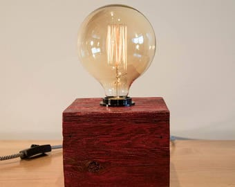 Rosie Red Idea Box - Reclaimed Barn Wood with Vintage Inspired Edison Filament Light Bulb
