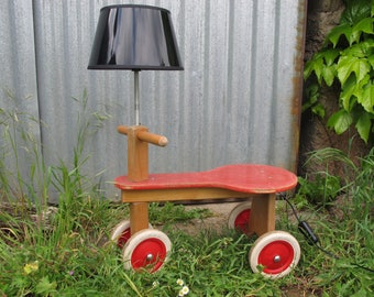 "child recycled bike, retro recycled lamp, creation by recycling, lamp ""Quadricycle"""