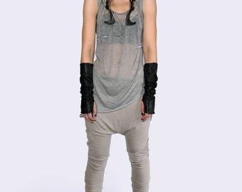 Singlet open back / womens / A-symetrical / Weightless grey knit, Minimalistic Women Ladies S M L