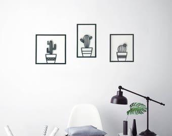 Set of 3 wall art, cactus wall decor, minimalist wall art, minimalist room decor, cactus decor kitchen, kids room decor, metal wall hanging