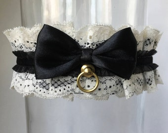 Ivory, Black and Gold Lace Victorian Steampunk Collar, Kitten Play Collar, Choker, BDSM Collar, ddlg Collar, Lolita Collar