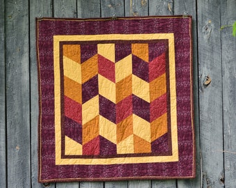 Fall Herringbone Baby Quilt with Minky Back, Fall Herringbone Playmat, Fall Herringbone Throw