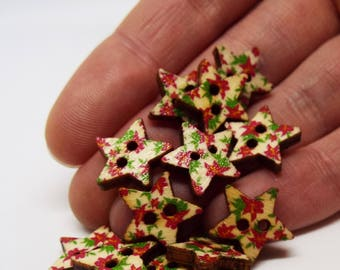 Floral star button 11mm wooden