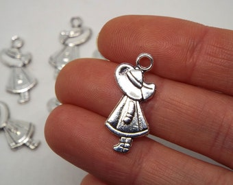 Girl with Hat Charm 11 x 25mm, Double Sided Silver Coloured