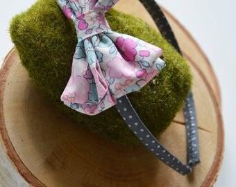 Headband liberty betsy pink and gray amelie bow