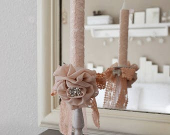 Shabby chic rose candle holder and flower