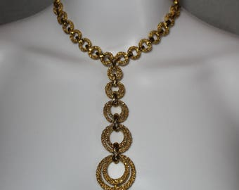 Signed Crown Trifari Egyptian Revival Y Necklace,choker necklace, gold hoops, double hoops