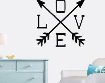 Love Arrow wall decals nursery decor,bedroom arrow,arrows kids room,love,living room decor,modern baby room,toddler room art,brave, married