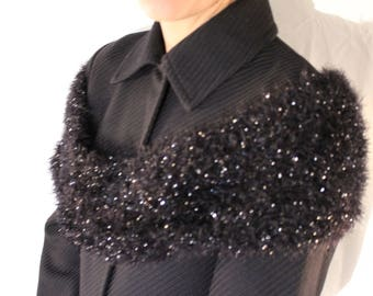 "Snood ""knitted"" shiny black"