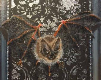Gothic bat painting handmade