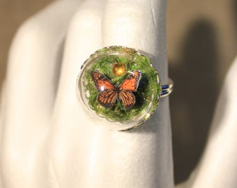 "Ring adjustable Globe Butterfly""nature, spring, bucolic"