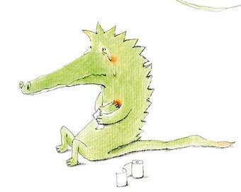 Post card, humor, alligator, crocodile tears