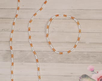 Tennessee Vols colored Beaded Necklace and Bracelet