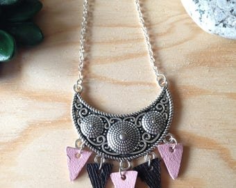 Necklace - bohemian necklace silver and leather