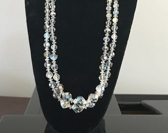 Vintage Crystal Double Strand Necklace Clip Earrings/ Rainbow Crystal Necklace/40's Jewelry Set