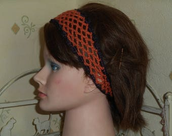 Orange crochet headband for hair