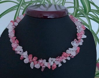 """Necklace crew-neck """"Chips"""" natural stone rose quartz and white jewelry birthday mother Christmas gift"""