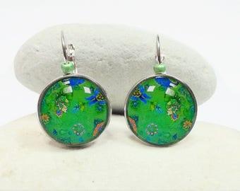Green cabochon earrings