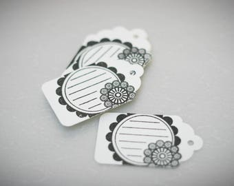 10 labels Tags (black and white) paper