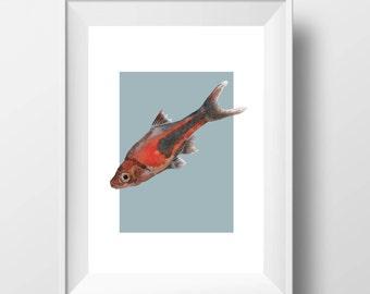 Watercolor Fish-Printable art-Fish printables-Fish print-Fish print art-Fish print out-Fish art-Fish home decor-Fish wall art-Watercolor art