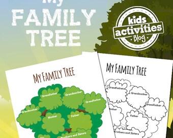 Family Tree Printable Worksheet Activity for Kids