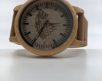 Game of Thrones House Stark laser engraved Genuine Leather and Bamboo Watch!