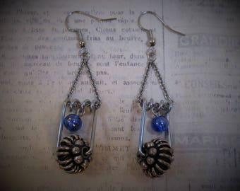 blue bubble pin up earrings