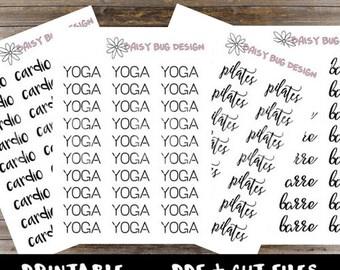 Yoga Barre Pilates Cardio Lettering PRINTABLE Stickers