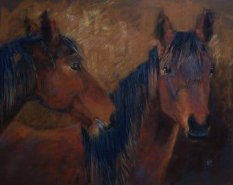 Animal original pastel portrait of horses