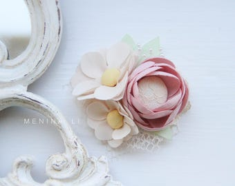 Fabric flowers pastel colours girl hair clip